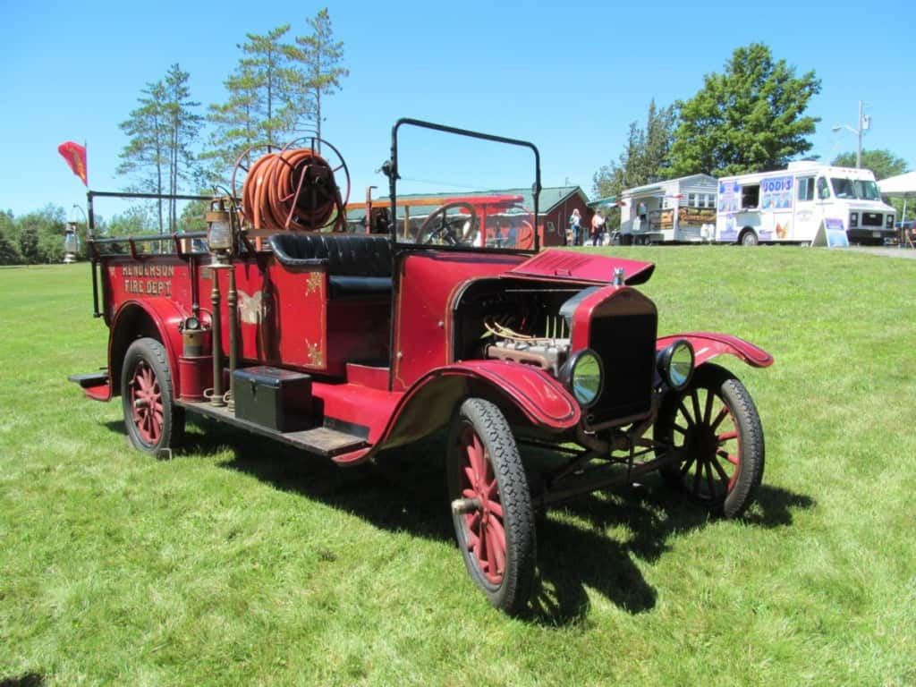 historical old red fire engine
