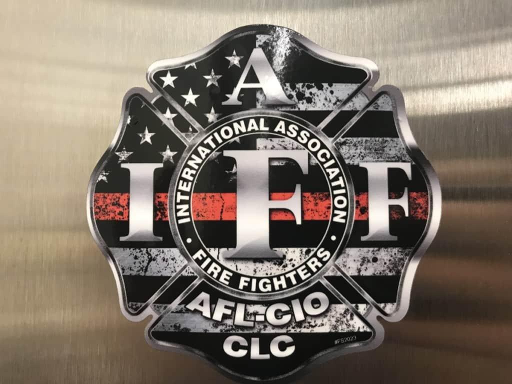 American flag IAFF (International Association of Fire Fighters) Sticker