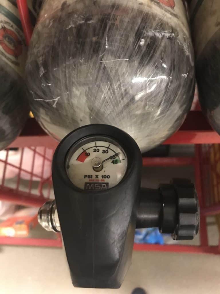 Firefighter air tank pressure gauge