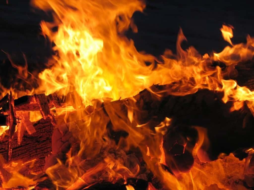 log burning in fire