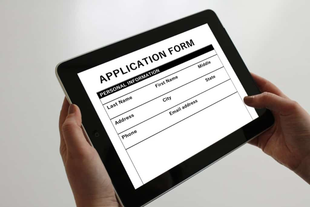 application form on tablet screen