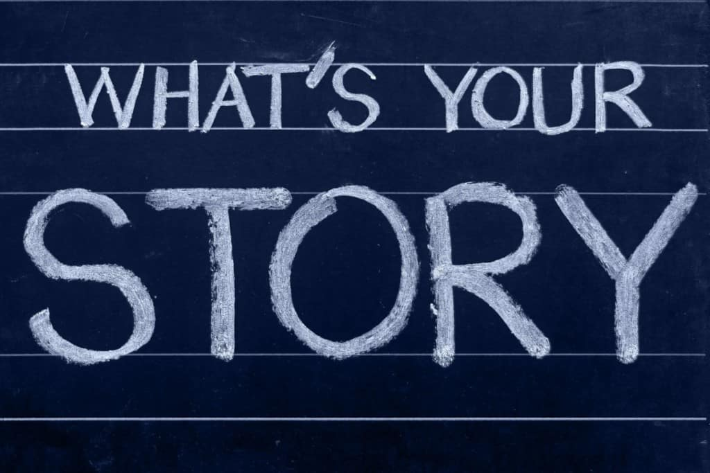 """chalkboard says """"what's your story"""""""