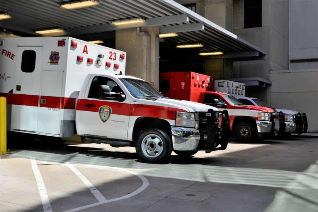 three ambulances parked at hospital