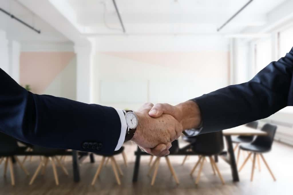 two people shaking hands, close-up