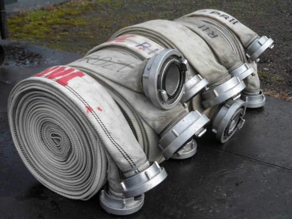 rolled up large fire hose