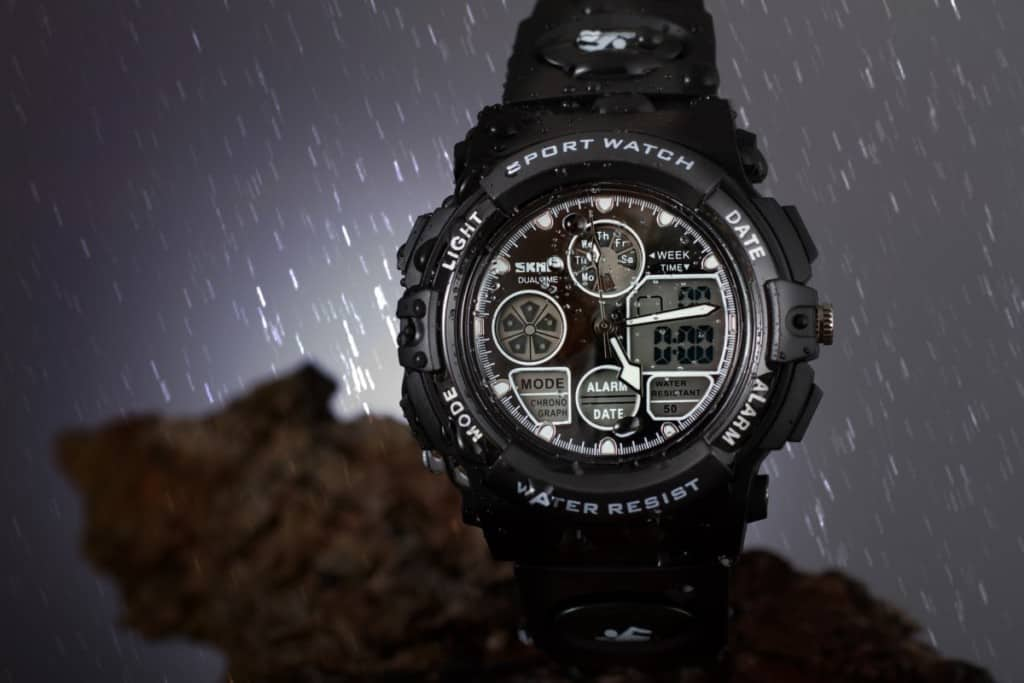 sport watch in the rain