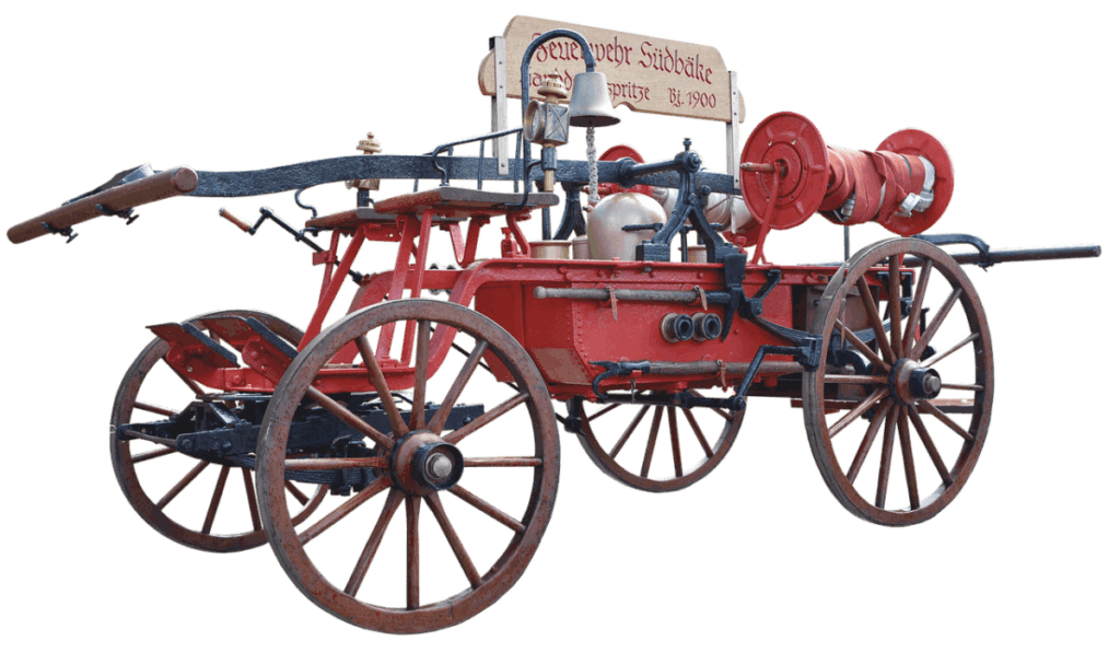 horse drawn fire pump from 1900's