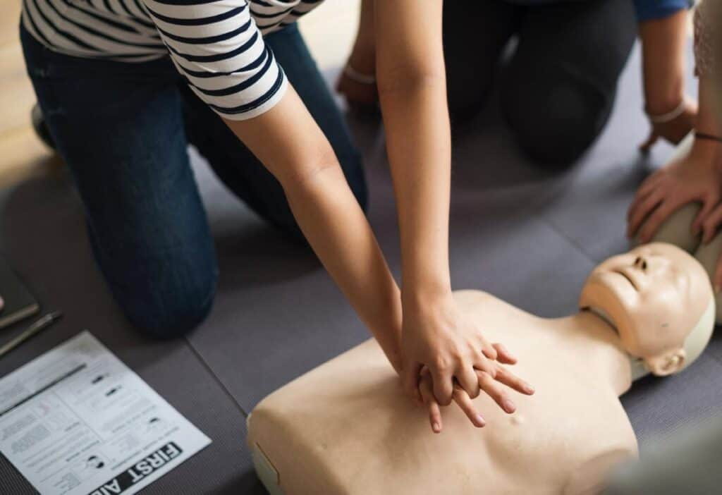 CPR on training mannequin