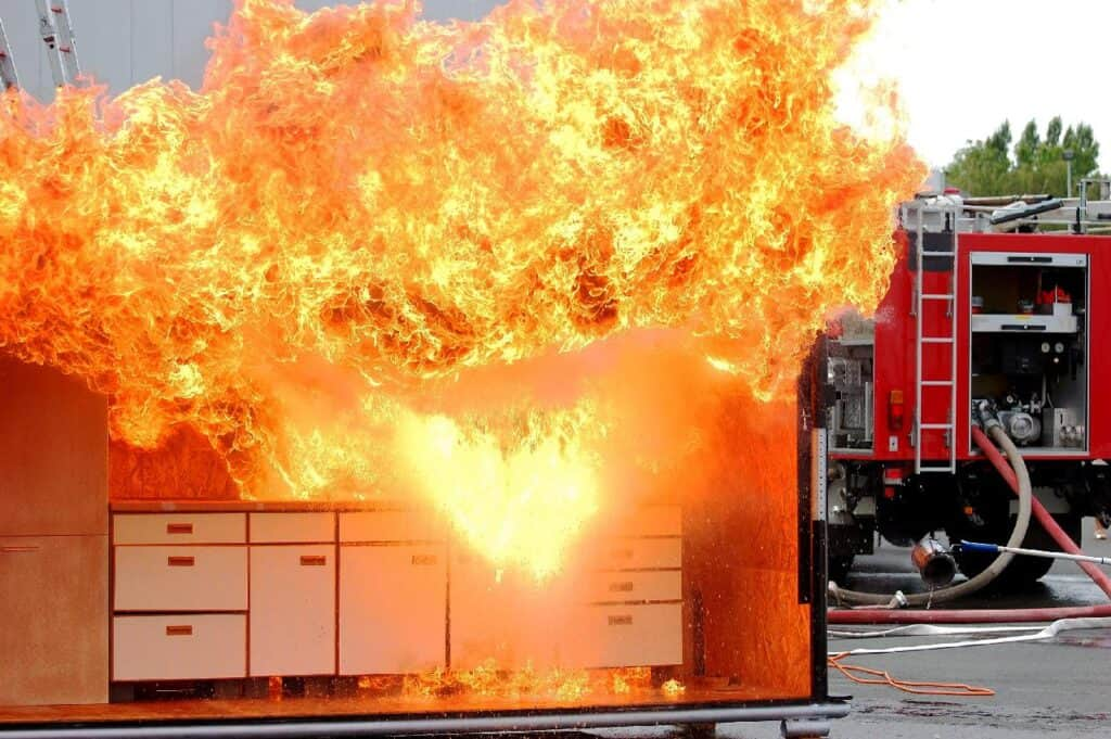 kitchen fire demo