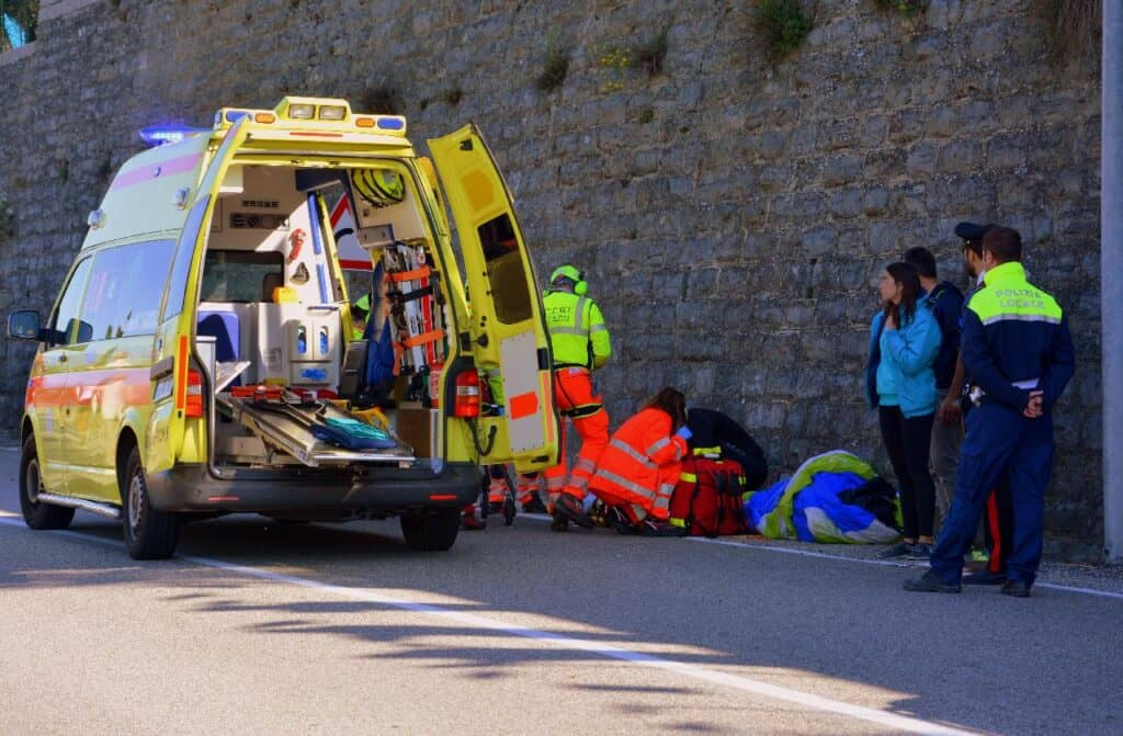 EMTs working on side of road
