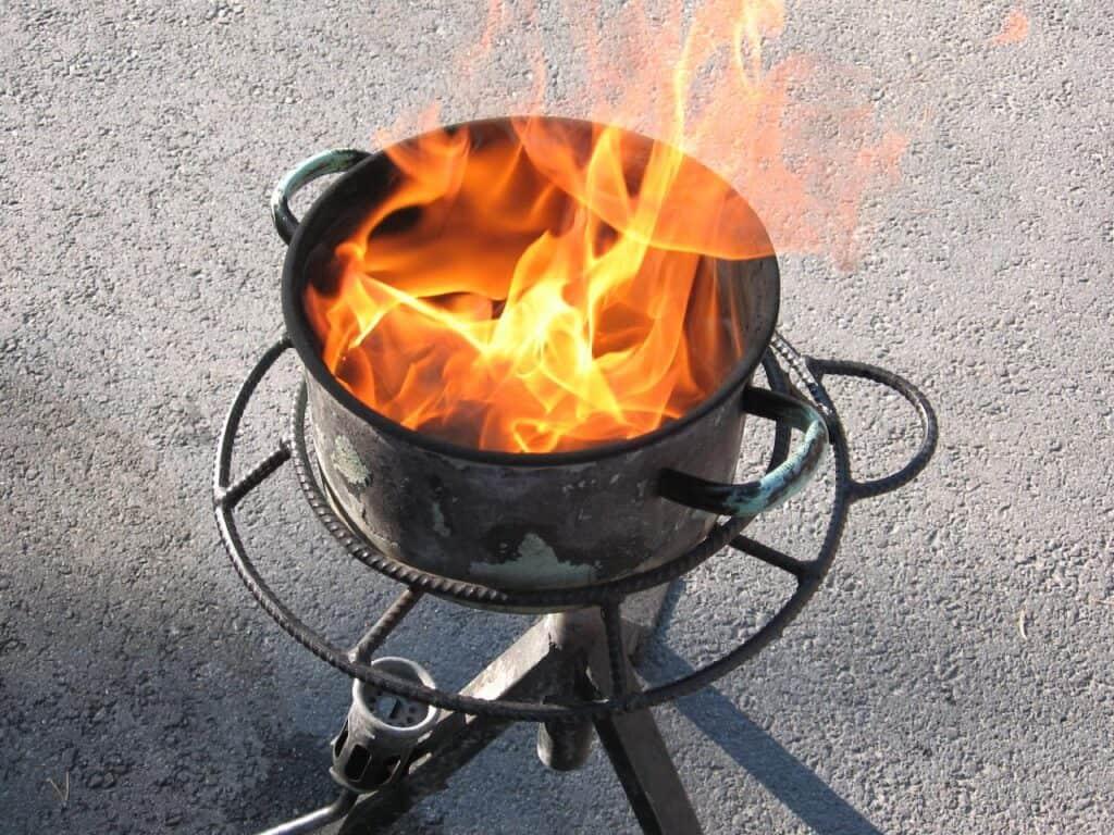 fire in pot